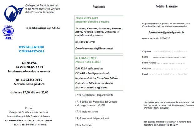 Incontri Installatori consapevoli 10/06 e 01/07/19